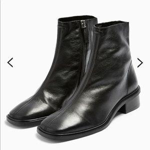 TOPSHOP square toe black zip up boots